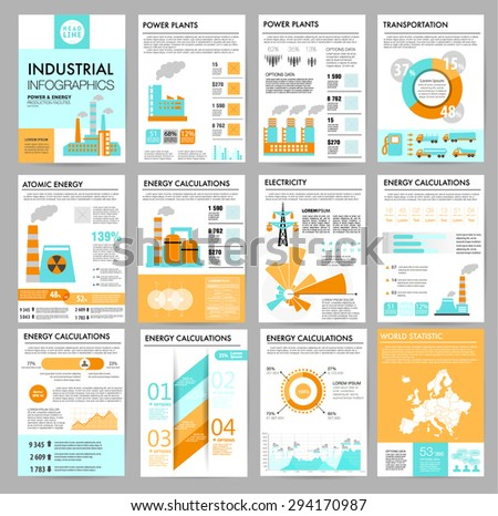 Big set of infographics elements, industrial infographics and Information Graphics. Plants. Easy to edit map. Flat style. Use in website, flyer, corporate report, presentation, advertising, marketing. - stock vector