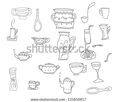 Big set of kitchen tools, vector sketch in simple black lines - stock vector