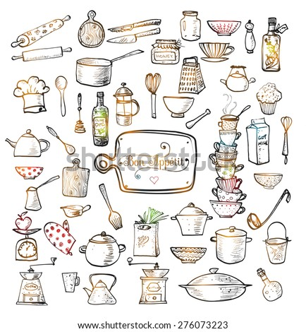 Big set of kitchen utensils hand-drawn with ink. Vector illustration. - stock vector