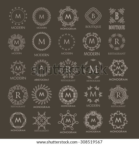 Big set of Luxury Logos templates  calligraphic elegant ornament line designs. Floral motifs. Business sign, logos, identity for Restaurant, Royalty, Boutique, Hotel, Heraldic, Jewelry, Fashion  - stock vector