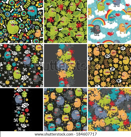 Big set of patterns and illustrations with cute little monsters. Vector. - stock vector