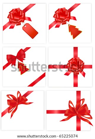 Big set of red bows with cards. Vector illustration. - stock vector
