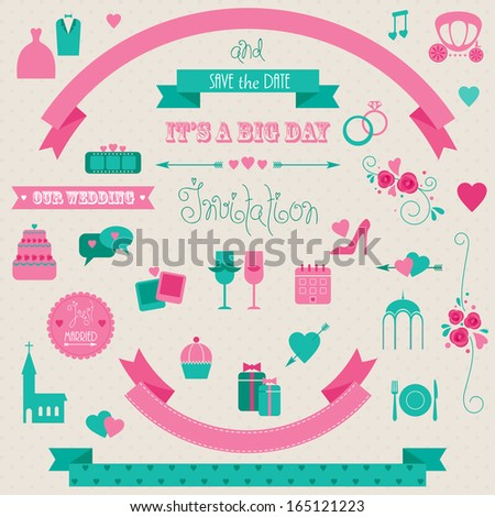 Big set of retro wedding collection. Vector icons and banners. - stock vector
