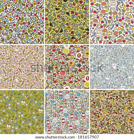 Big set of seamless doodle patterns. Vector backgrounds with cute flowers, animals, faces. - stock vector