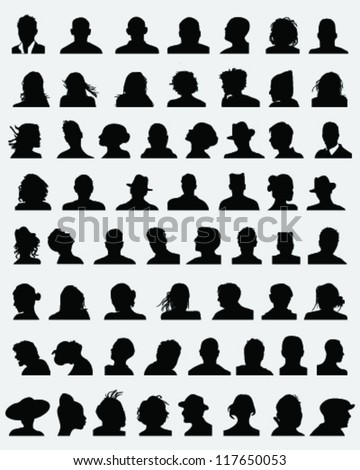 Big set of silhouettes of heads,vector - stock vector