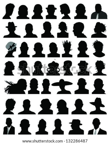 Big set of silhouettes of heads-vector - stock vector