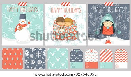 Big set of three christmas cards, seamless patterns for wraping presents and gift tags in one color style. Vector illustration - stock vector