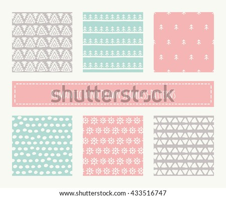 Big set of tribal seamless patterns with archaic geometric ornament. Primitive ethnic style with hand drawn endless texture. Pastel romantic color palette (red, green, brown) - stock vector