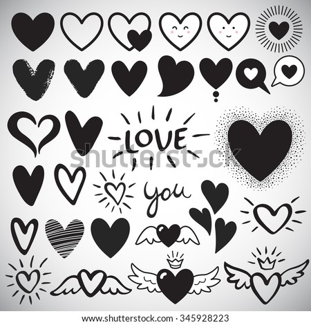 Big set of various heart templates - simple flat design hearts with cute faces, brush drawn with rough, uneven edge, speech bubbles, doodle hearts. Lettering LOVE and YOU. Different hearts collection. - stock vector