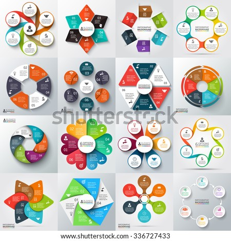 Big set of vector arrows, hexagons, circles and other elements for infographic. Template for cycle diagram, graph, presentation. Business concept with 6 options, parts, steps or processes. - stock vector