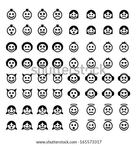 Big set of vector emoticons. - stock vector