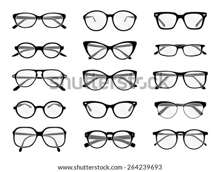 Big set of vector isolated spectacles in black and white - stock vector