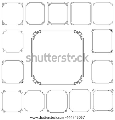 Big set of vector thin vintage gold frame for your design. Vintage cover. Place for text. Vintage beautiful rectangular frame. - stock vector