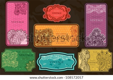 Big Set of vintage business cards and labels. Brightly-colored Lace-Paisley design - stock vector