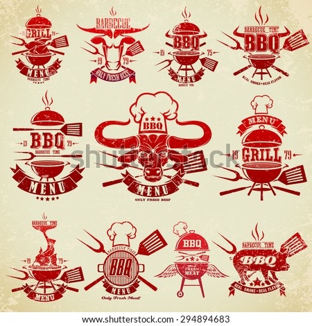 Big set of vintage labels barbecue party - stock vector