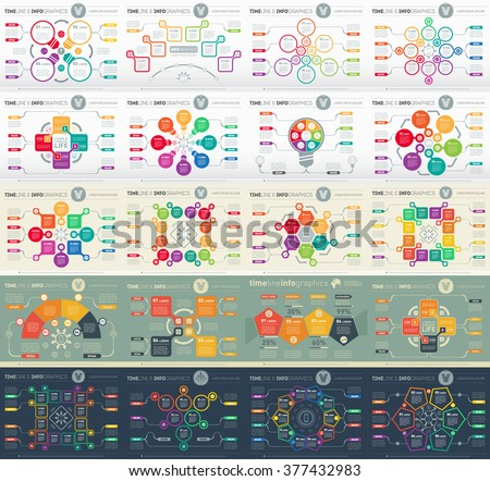 Big Set of Web Templates for diagram or presentation. Vector infographics of technology process including icons, creative design elements and logo. - stock vector
