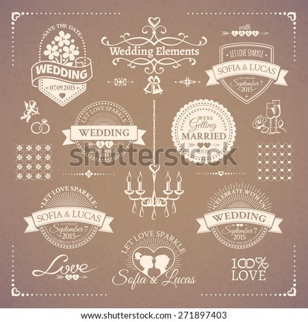 Big set of white classic wedding vintage badges and decorative elements in retro design on the beige background - stock vector