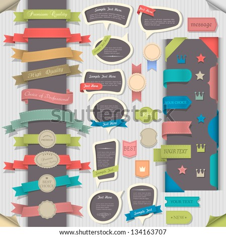 Big set retro design elements and speech bubbles. Vector collection - stock vector