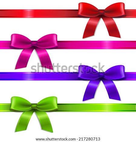 Big Set Ribbons, With Gradient Mesh, Vector Illustration - stock vector