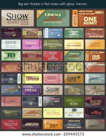Big set: tickets in flat styles with gloss. Vector. - stock vector