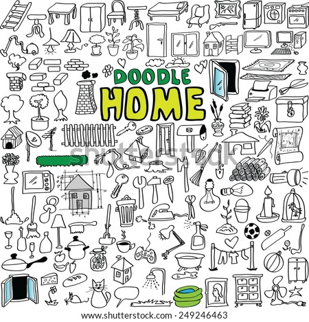 big set vector doodle home buildings, appliances, tools, object, isolated on white background - stock vector