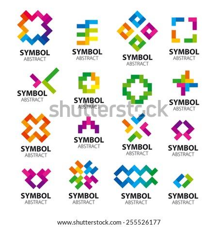 Big set vector logos modules - stock vector