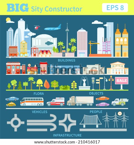 Big set with city elements to make your own city. Vector illustration - stock vector
