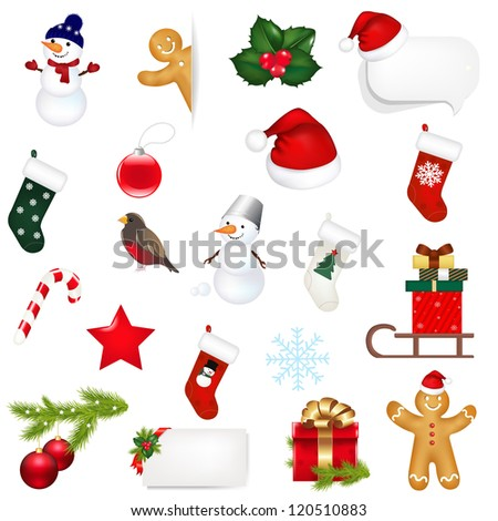 Big Set Xmas Icons Isolated On White Background With Gradient Mesh, Vector Illustration - stock vector
