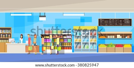 Big Shop Super Market Shopping Mall Interior People Customers Stand In Line Sales Woman Cash Desk Vector Illustration - stock vector