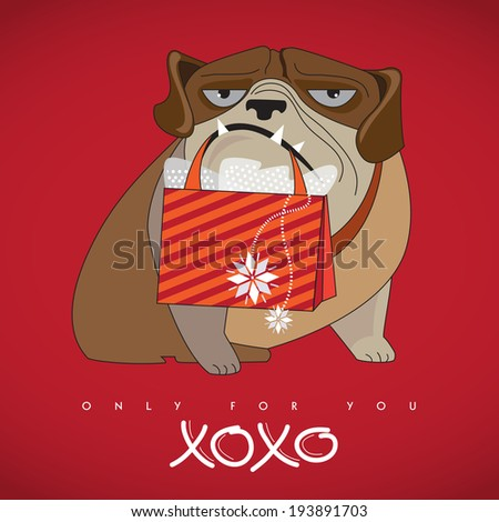 Big, strong dog holding a shopping bag with gifts for his lady. Only for you. Xoxo. Holidays concept. Vector EPS 10 illustration.  - stock vector