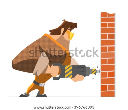 Big strong man worker drill a wall. Home house repair service. Color vector illustration. - stock vector