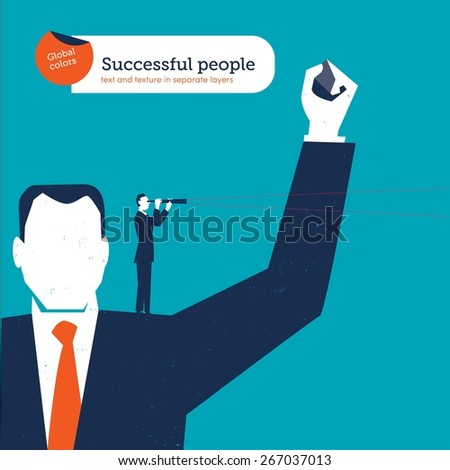 Big successful businessman with a small businessman on his shoulder with spyglass. Vector illustration Eps10 file. Global colors. Text and Texture in separate layers. - stock vector