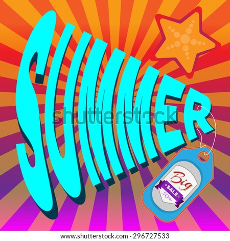 Big Summer Sale Flyer Vector Illustration. Percentage Discount. Holiday Hot Vacation Card. Market Shop Goods Sale Banner. - stock vector