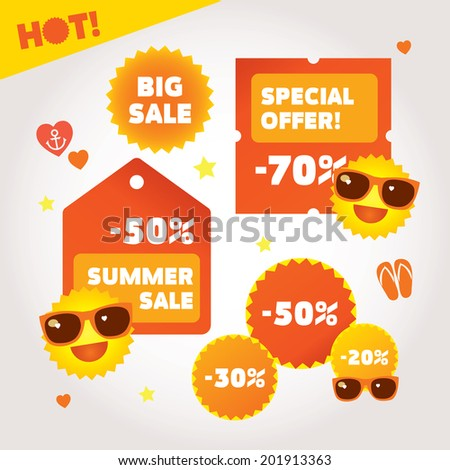 Big summer sale labels set. Hot deal collection. Vector layered illustration on white background with summer design elements - stock vector