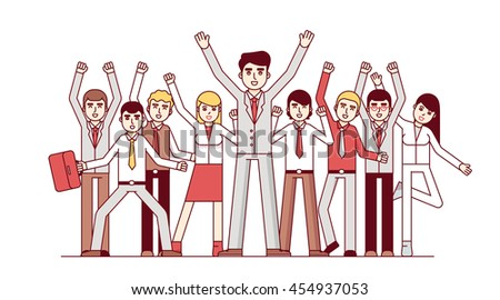 Big team celebrating huge success and business achievements. Standing together and waving hands. Modern flat style thin line vector illustration isolated on white background. - stock vector