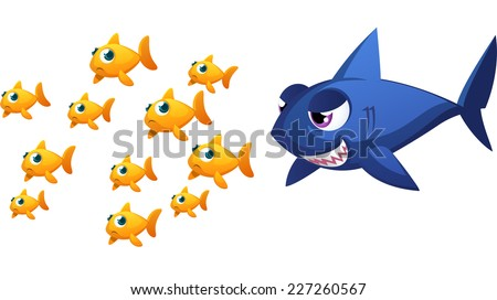 Big threatening fish about to eat some small goldfish fishes, with eleven fish running away scared from a big blue shark vector illustration. - stock vector