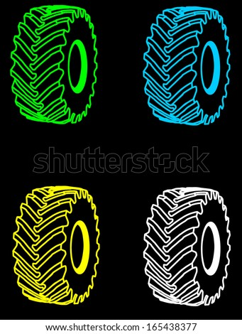 Big tire vector set isolated on black background. - stock vector