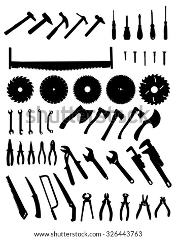 Big tools silhouette set, collection of black images on white background - stock vector
