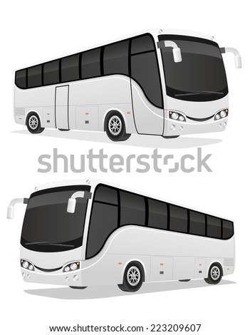 big tour bus vector illustration isolated on white background - stock vector