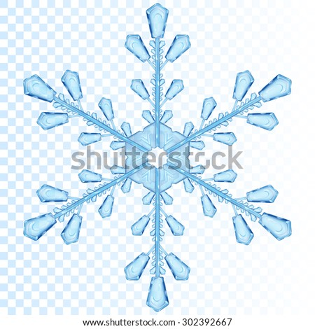 Big transparent snowflake in blue color. Transparency only in vector file - stock vector