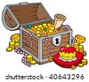 Big treasure chest - vector illustration. - stock vector