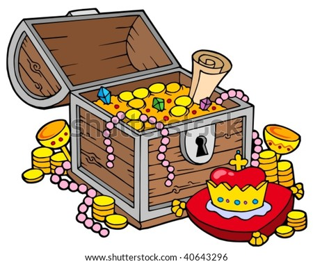 Big treasure chest - vector illustration. - stock vector
