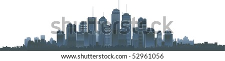 Big vector city silhouette - stock vector
