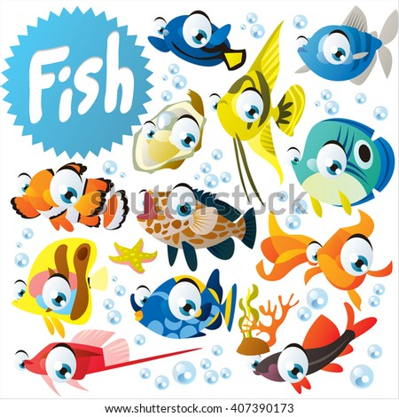 Big vector collection of tropical exotic fish. Pet set for mobile games, logo or banner design, wall stickers etc. - stock vector