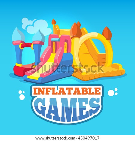 big Vector illustration set of inflatable castles and children hills on playground. Pictures isolate on blue background - stock vector