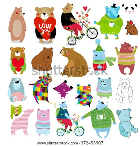 Big vector set bears. It can be used as individual characters, for postcards, posters, children's books - stock vector