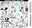 big vector set - doodle - space & robots - stock vector