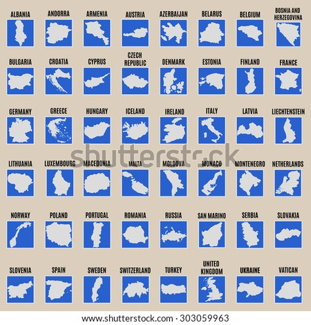 Big vector set of all Europe states High detailed editable illustration of Europe maps. - stock vector