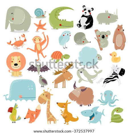Big vector set of animals. The crocodile, elephant, bear, duck, panda, koala, lion, monkey, turtle, whale, shark, crab, fox, kangaroo, giraffe, bat, hedgehog, owl, snake, starfish, quail - stock vector