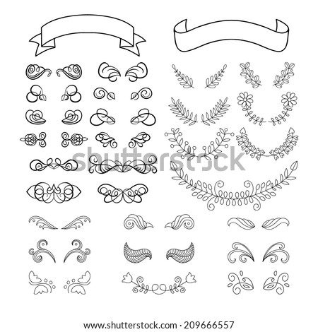 Big vector set of calligraphy page decoration elements with ribbons, laurels, swirls - stock vector